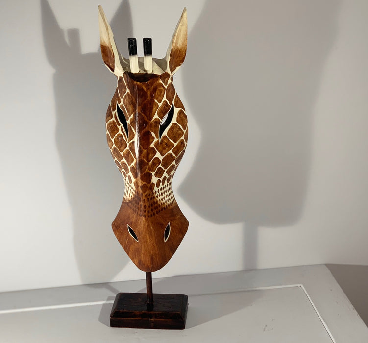 Hand Carved Giraffe Tribal Mask on stand - 60cm