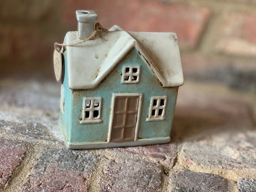 Cornish Village Pottery Lantern Blue House