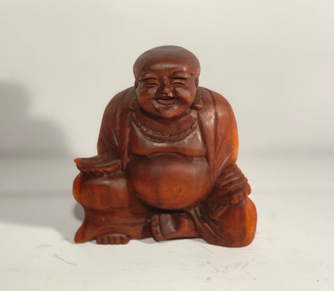 Carved Wooden Laughing Buddha 20cm