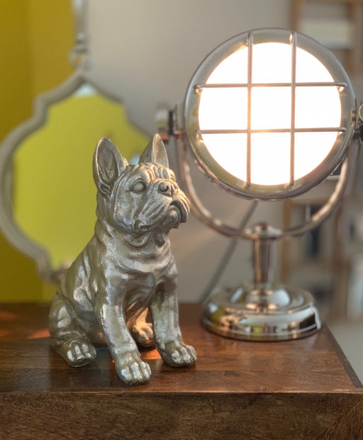 Antique Silver French Bull Dog Sculpture - 30cm