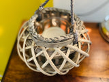 Wicker Basket Lantern Candle Holder