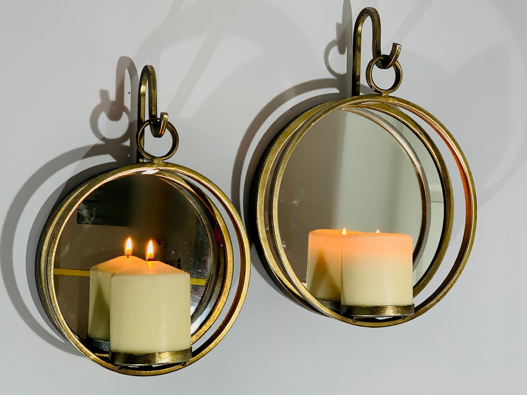 Wall Candle Holder - Small Bronze Circular Sconce