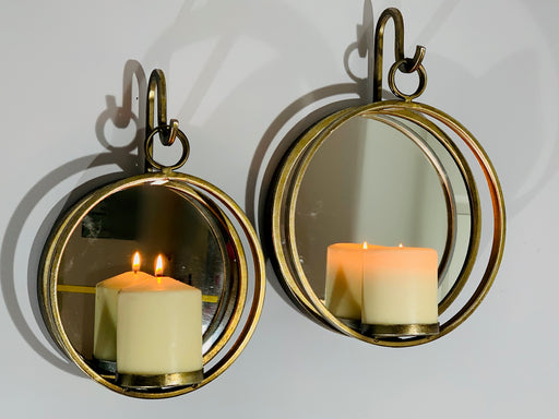 Wall Candle Holder - Large Bronze Circular Sconce