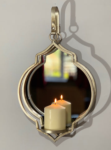 Wall Candle Holder - Silver Quarterfoil Design