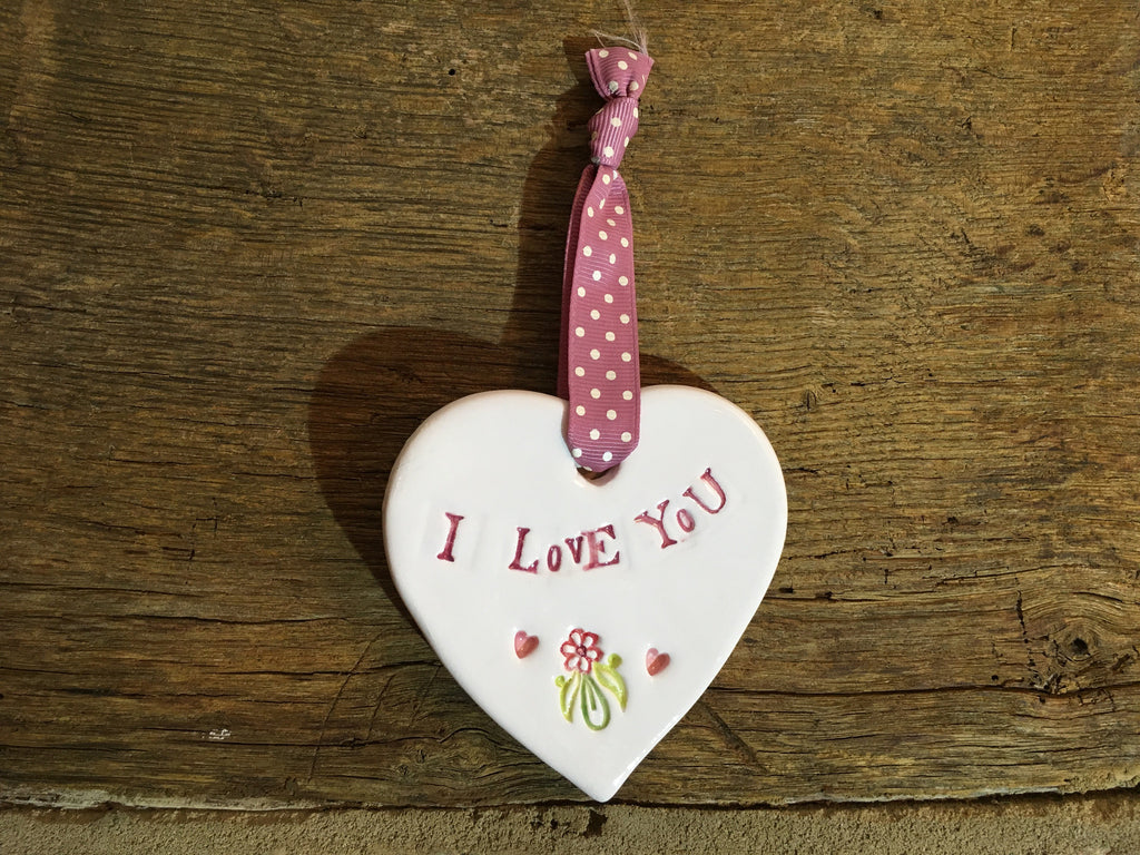 Ceramic Hanging Heart - I Love You