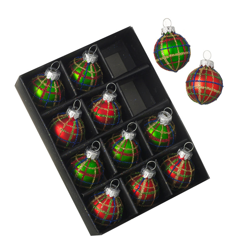 Mini Christmas Baubles - Red Green Tartan - Set of 12