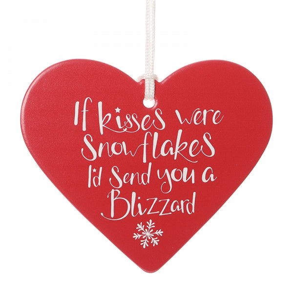 Romantic Christmas Heart - If Kisses Were Snowflakes I'd Send You A Blizzard