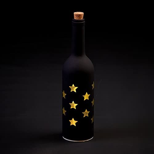 Light Up Wine Bottle Black With Gold Stars
