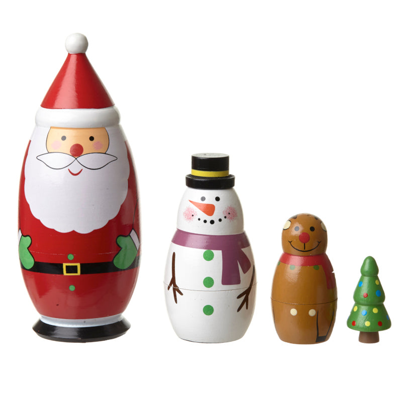 Wooden Nesting Christmas Set - Santa and Friends