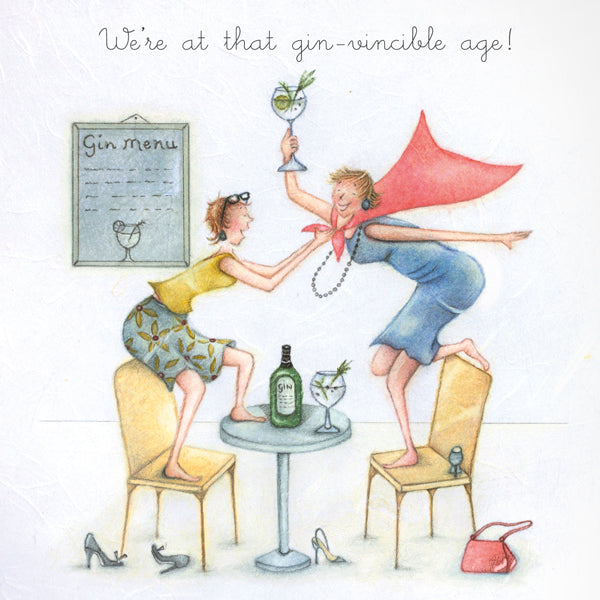 Gin Birthday Card - We're at that gin-vincible age!  Berni Parker