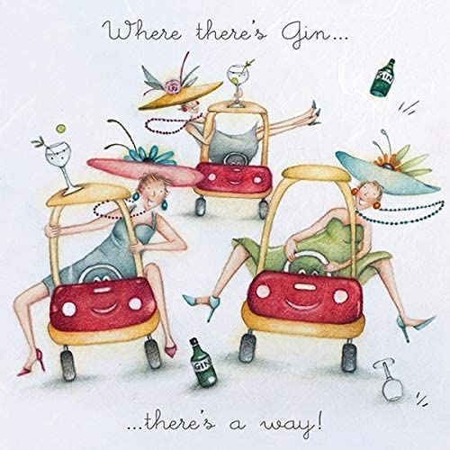 Gin Birthday Card - Where there's Gin...there's a way!  Berni Parker