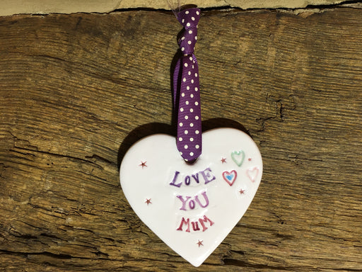Ceramic Hanging Heart - Love You Mum
