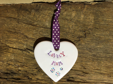 Ceramic Hanging Heart - Lovely Mum
