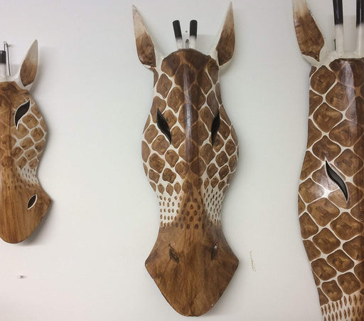 Hand Carved Brown/Natural Wooden Giraffe Tribal Mask - 50cm