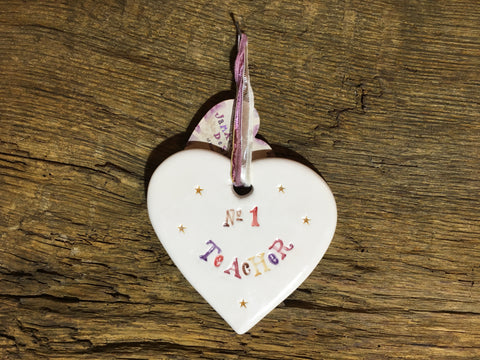 Ceramic Hanging Heart - No 1 Teacher
