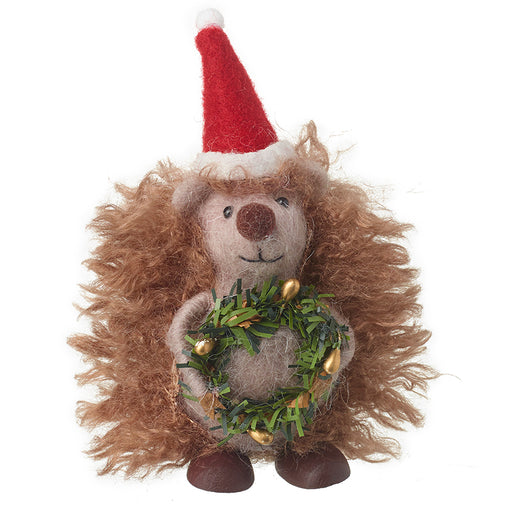 Christmas Hedgehog Woollen Standing Decoration