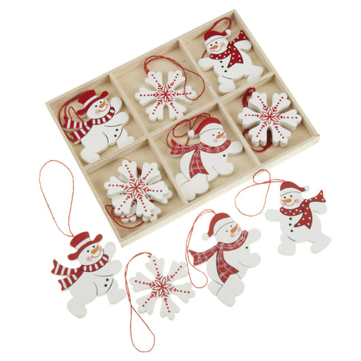 Wooden Hanging Snowflake & Snowman Decorations