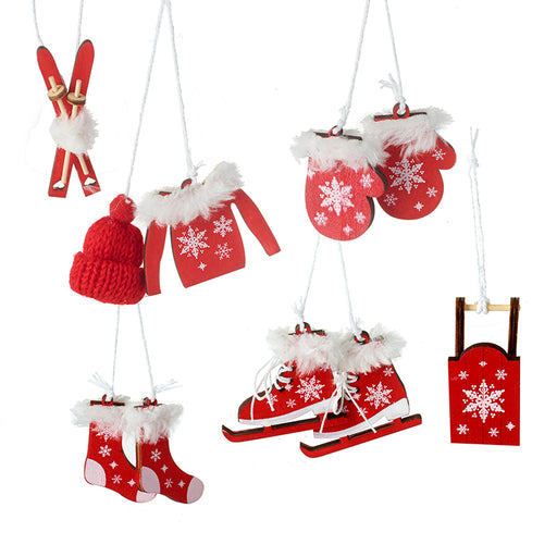 Alpine Ski Painted Wooden Tree Decorations