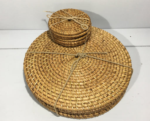 Round Java Rattan Placemats and Coasters - Set of 6