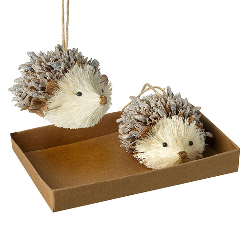 Set of 2 Hanging Hedgehog Pine Cone Tree Decorations