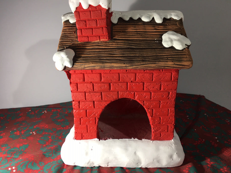 Rear of Ceramic Red House Christmas Candle Holder