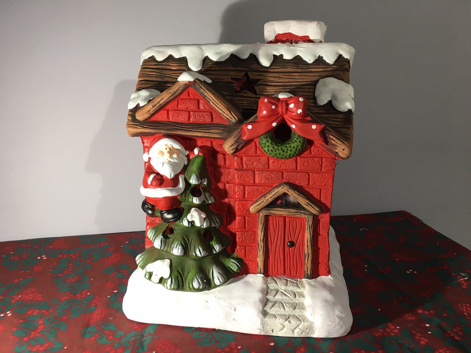Ceramic Red House Christmas Candle Holder