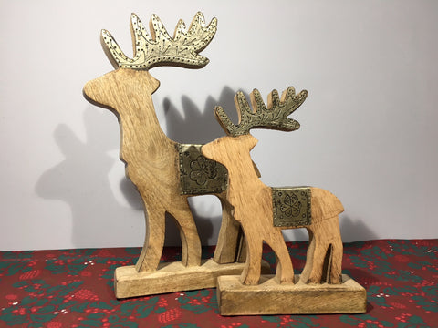 Wooden Reindeer with Silver Antlers Large