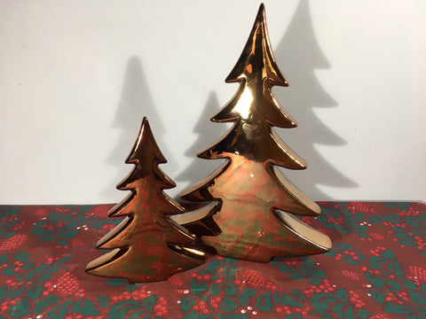 Ceramic Rose Gold Christmas Tree - Two Sizes Available