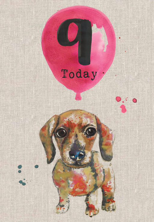 9 Today - Sausage Dog Birthday Card - Sarah Kelleher