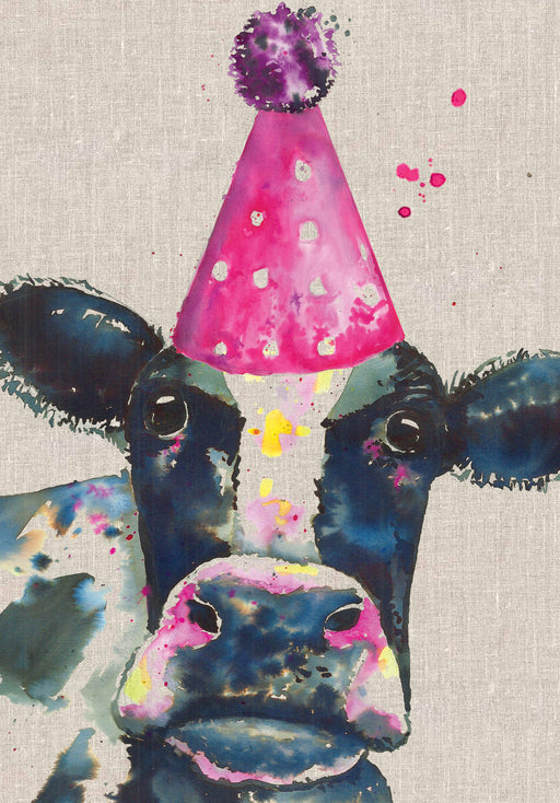 Cow Birthday Card - Party Hat - Sarah Kelleher