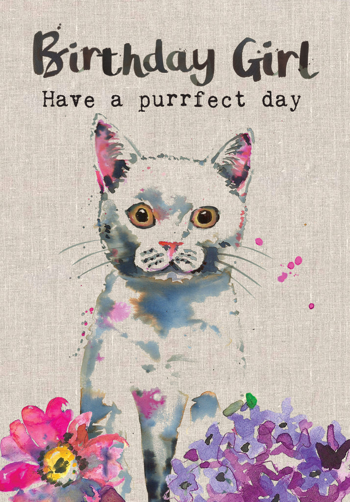 Cat Birthday Card - Birthday Girl Have a purrfect day - Sarah Kelleher