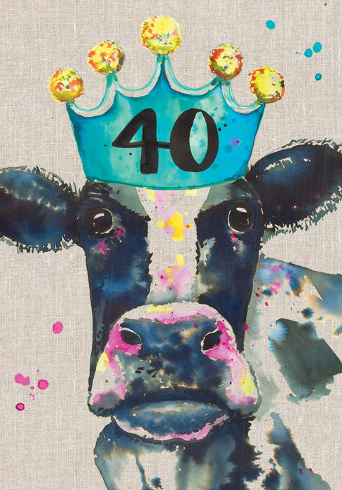 40th Birthday Card - Cow