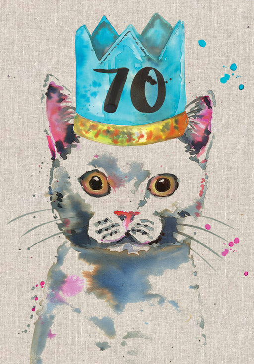 70th Birthday Cat Card