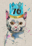 70th Birthday Card - Cat - Sarah Kelleher