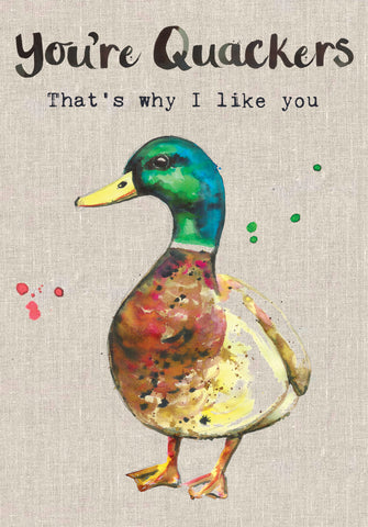 Duck Card - You're Quackers That's why I Like You - Sarah Kelleher