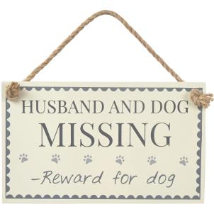 Husband and Dog Missing - Reward for dog plaque