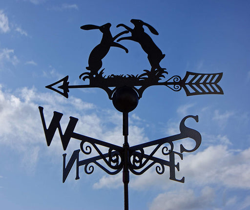 Boxing Hares Weathervane - UK Made Solid Steel