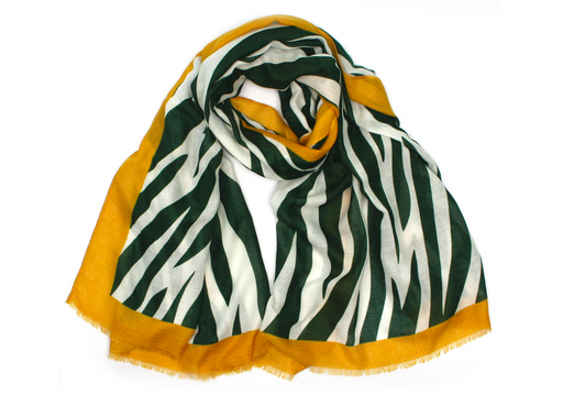 Zebra Scarf - Green Yellow Stripe Large Scarf