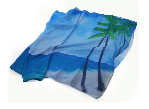 Tropical Beach Scene Palm Tree Scarf - Large Colourful Summer Scarf