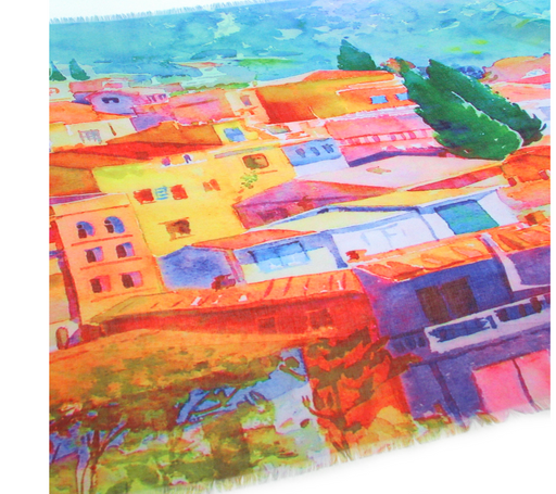 Holiday Town Scene Scarf - Large Colourful Summer Scarf