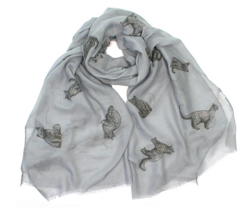 Cat Scarf - Multi Pose Cat Design Scarf, with Subtle Gold Sparkle Finish