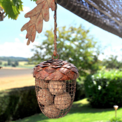 Acorn Bird Feeder - Aged Bronze Metal Finish