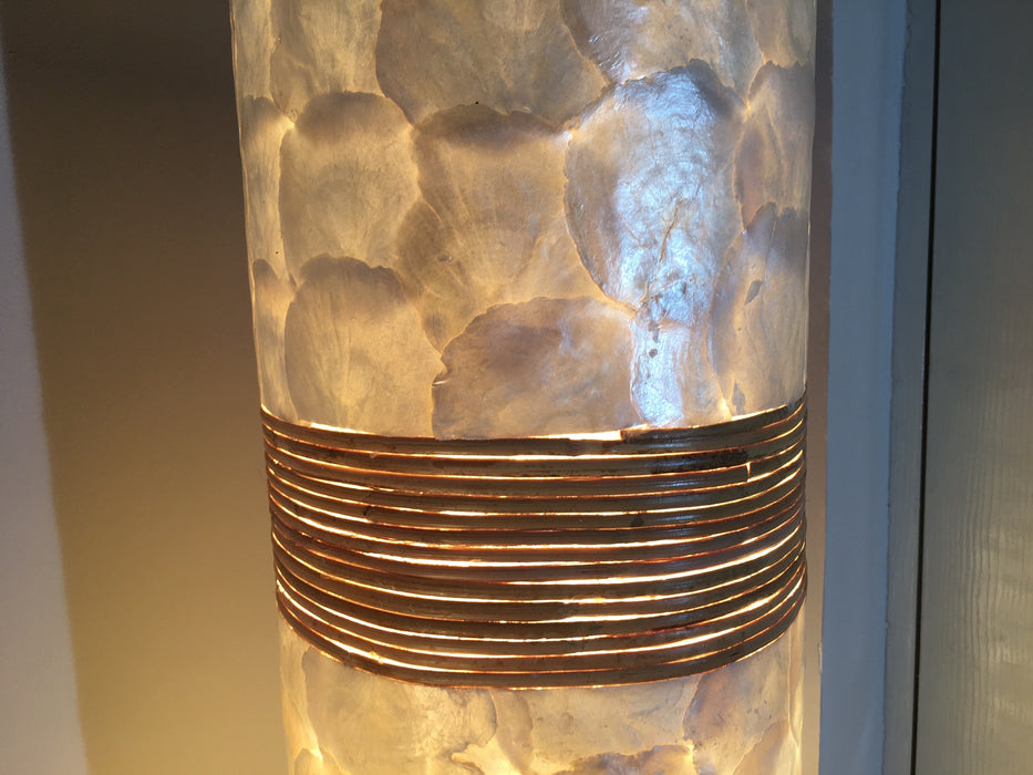 shell and rattan floor lamp