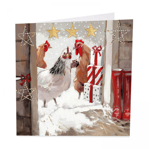 Chicken Christmas Cards - Three French Hens - Pack of 6