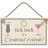 Cocktail Plaque - tick tock it's Cocktail o'clock!