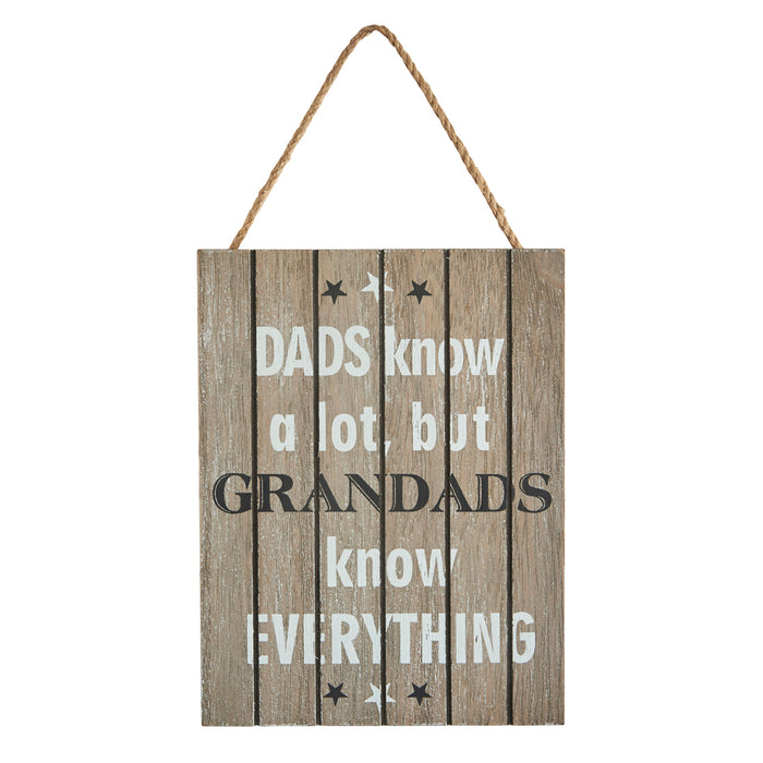 Grandad Plaque - DADS know a lot, but GRANDADS know everything