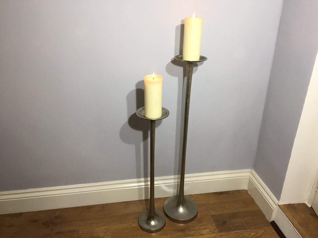 Metal Candle Sticks Floor Standing Pillar Candle Stands - Set of 2