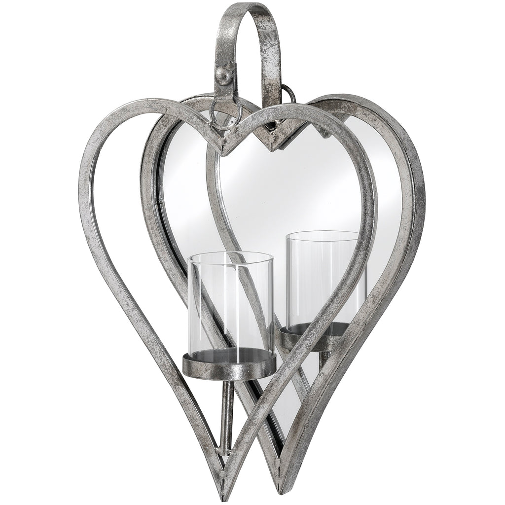 Wall Candle Holder - Antique Silver Mirror Heart Small ...