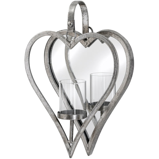 Wall Candle Holder - Antique Silver Mirror Heart Small