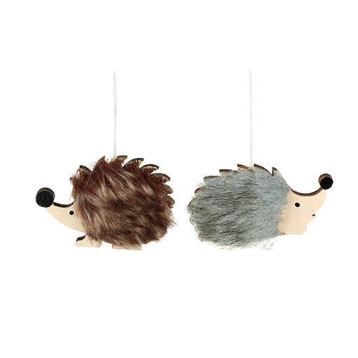 Pair of Fluffy Hedgehog Brown and Grey Fur Christmas Tree Decorations